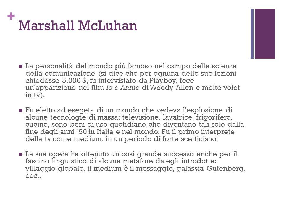 + Marshall McLuhan La personalità del mondo più famoso nel campo delle scienze della comunicazione (si dice che per ognuna delle sue lezioni chiedesse