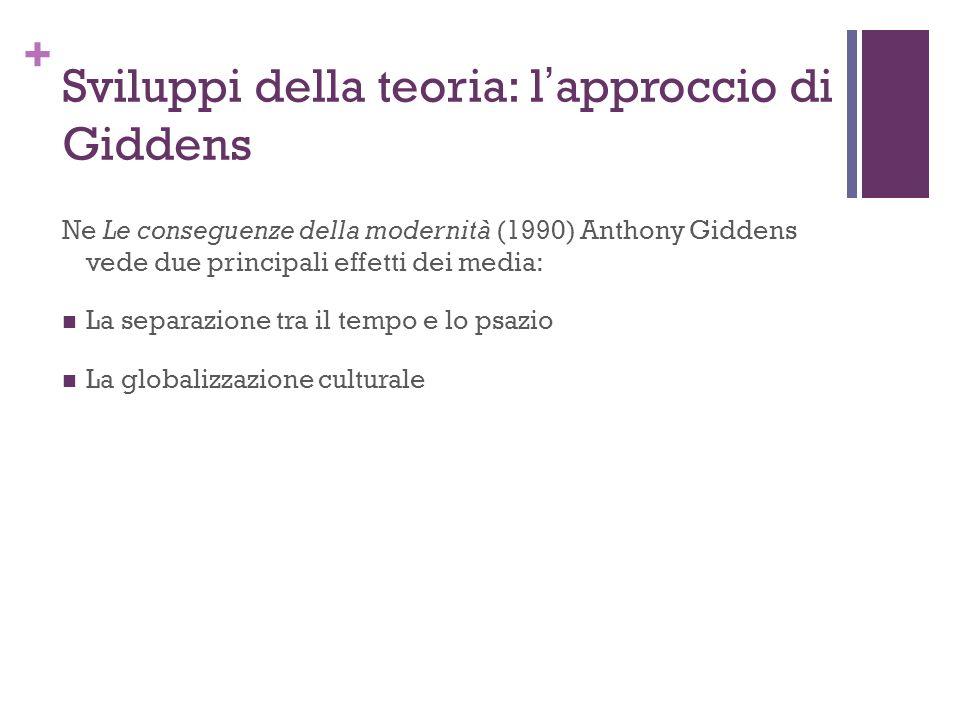 + Sviluppi della teoria: lapproccio di Giddens Ne Le conseguenze della modernità (1990) Anthony Giddens vede due principali effetti dei media: La sepa
