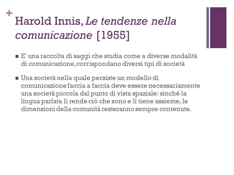 + Harold Innis, Le tendenze nella comunicazione [1955] E una raccolta di saggi che studia come a diverse modalità di comunicazione, corrispondano dive