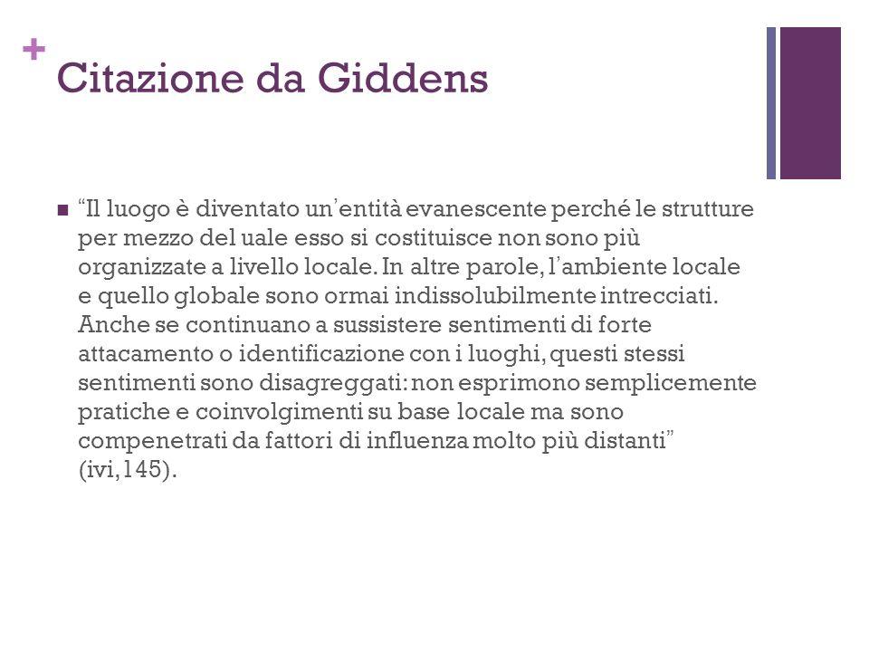 + Citazione da Giddens Il luogo è diventato unentità evanescente perché le strutture per mezzo del uale esso si costituisce non sono più organizzate a