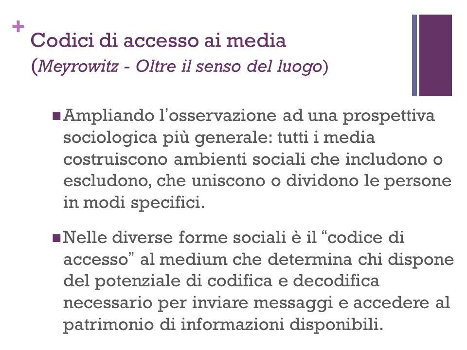 + Ampliando losservazione ad una prospettiva sociologica più generale: tutti i media costruiscono ambienti sociali che includono o escludono, che unis