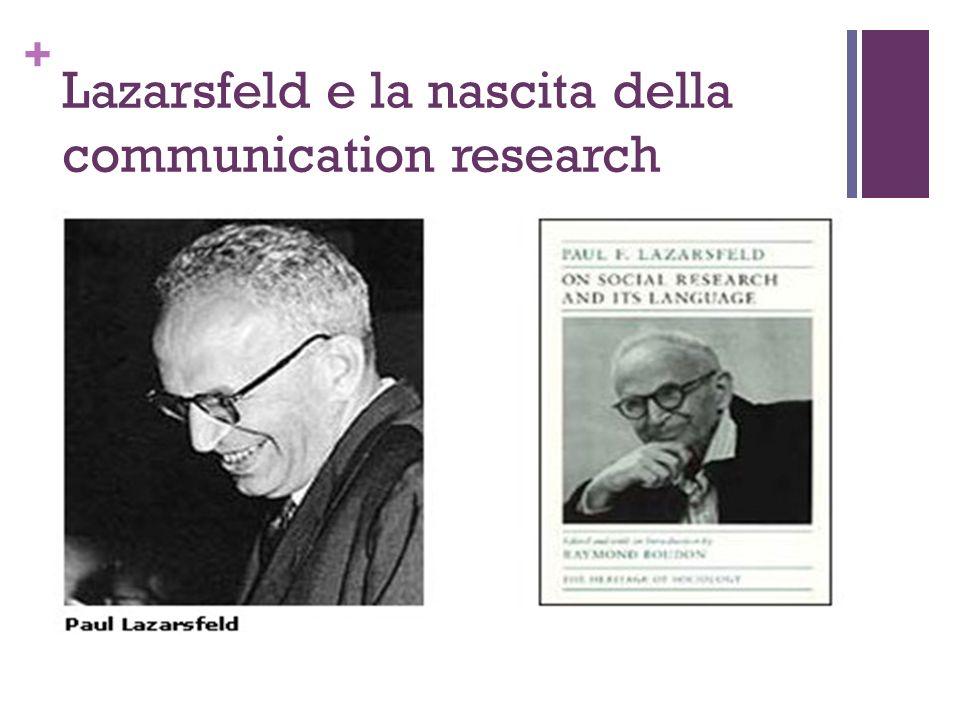 + Lazarsfeld e la nascita della communication research