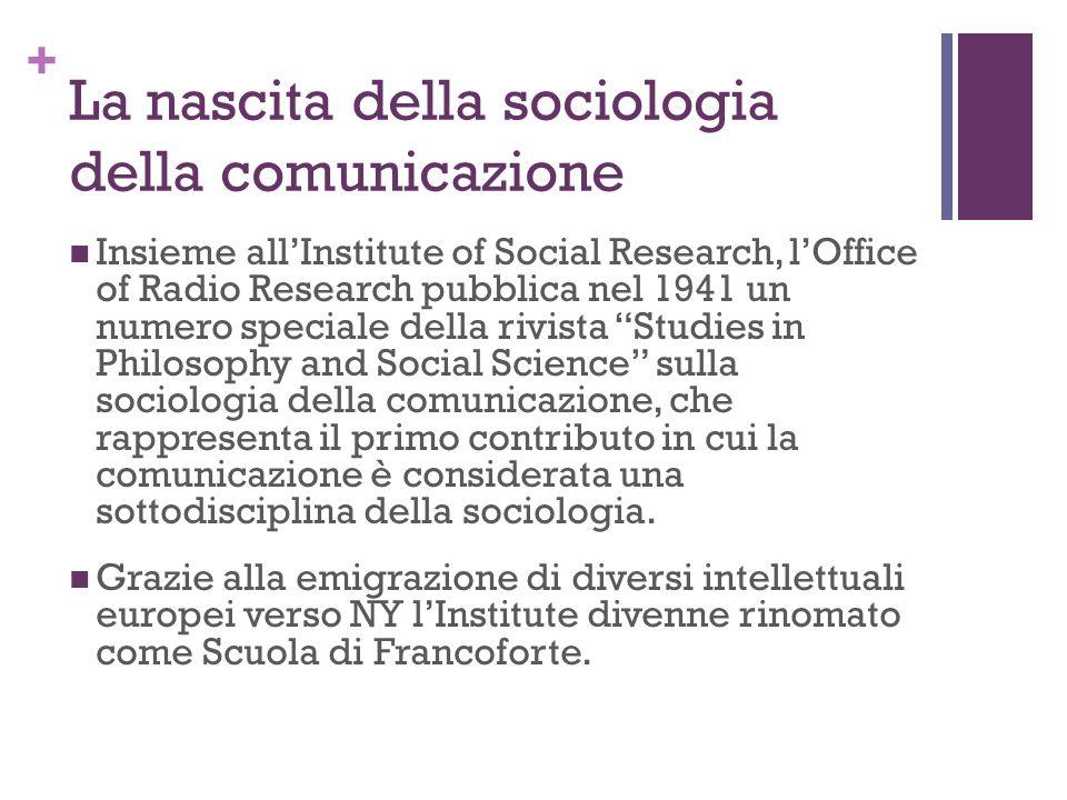 + La nascita della sociologia della comunicazione Insieme allInstitute of Social Research, lOffice of Radio Research pubblica nel 1941 un numero speci