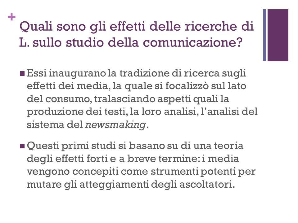 + Quali sono gli effetti delle ricerche di L. sullo studio della comunicazione? Essi inaugurano la tradizione di ricerca sugli effetti dei media, la q