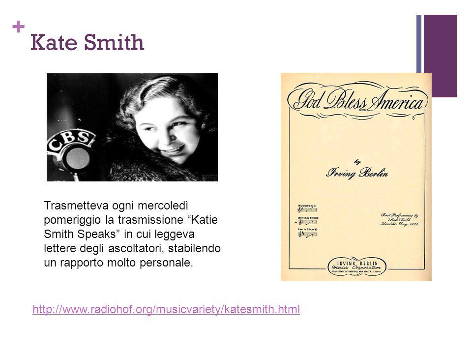 + Kate Smith http://www.radiohof.org/musicvariety/katesmith.html Trasmetteva ogni mercoledì pomeriggio la trasmissione Katie Smith Speaks in cui legge