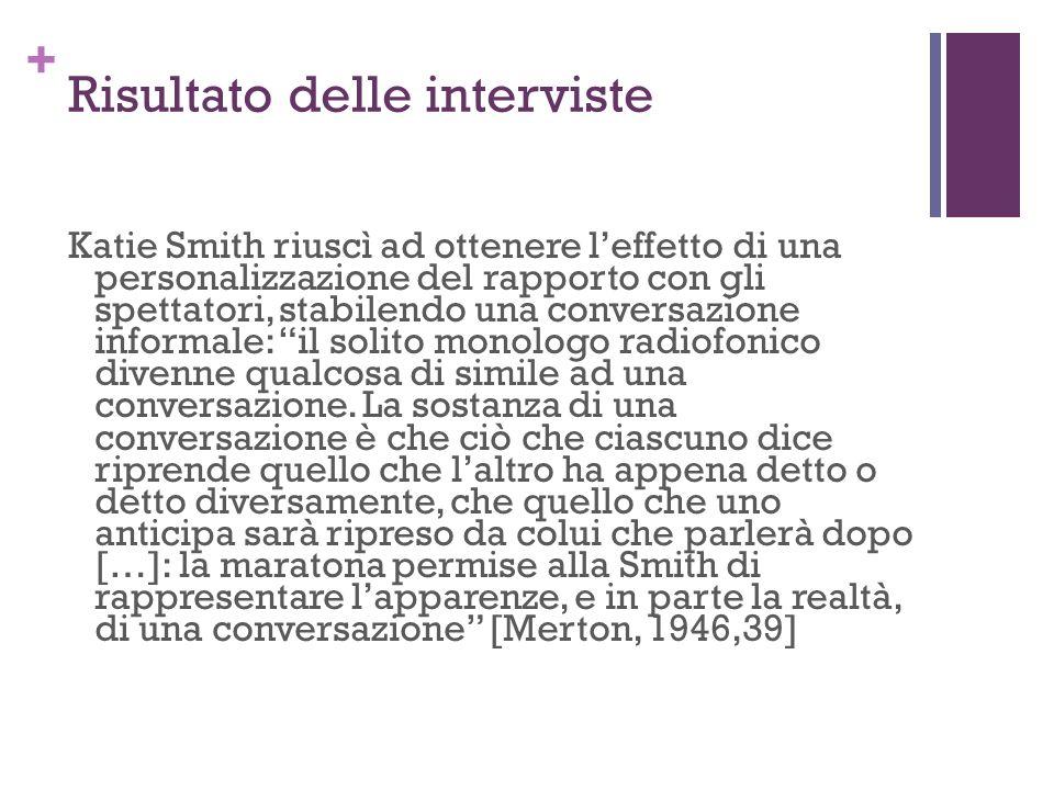 + Risultato delle interviste Katie Smith riuscì ad ottenere leffetto di una personalizzazione del rapporto con gli spettatori, stabilendo una conversa