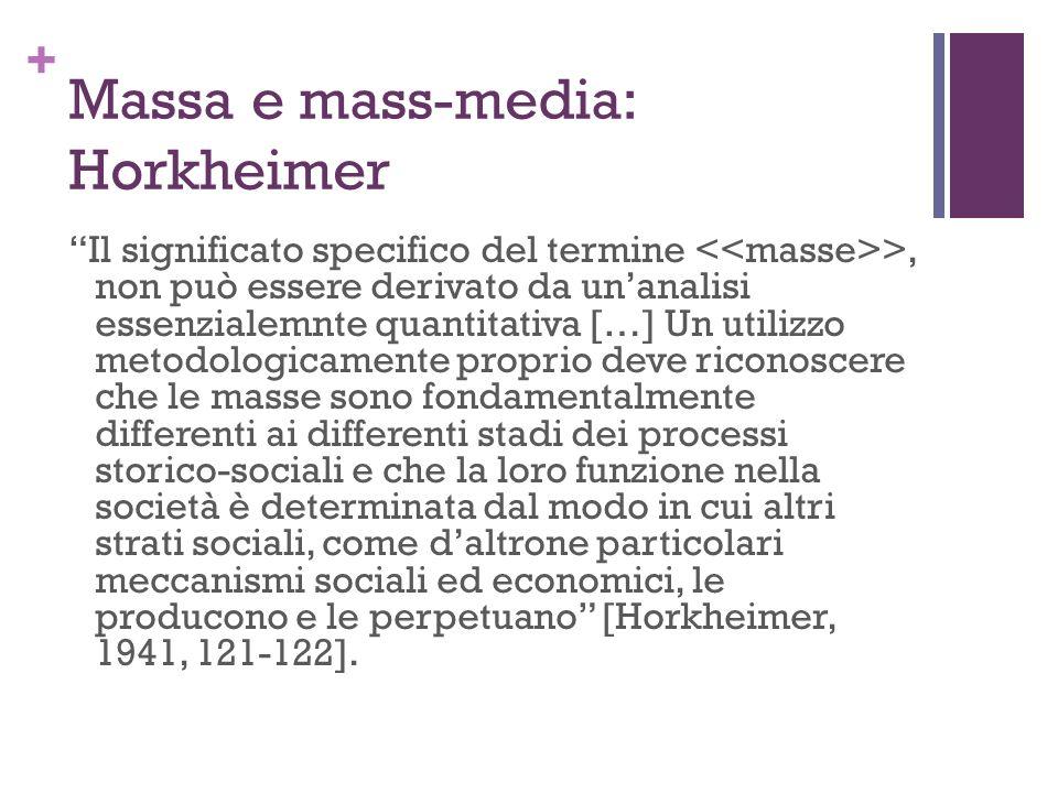 + Massa e mass-media: Horkheimer Il significato specifico del termine >, non può essere derivato da unanalisi essenzialemnte quantitativa […] Un utili