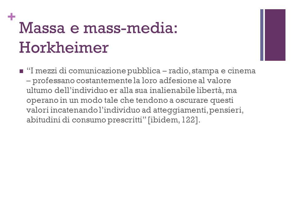 + Massa e mass-media: Horkheimer I mezzi di comunicazione pubblica – radio, stampa e cinema – professano costantemente la loro adfesione al valore ult