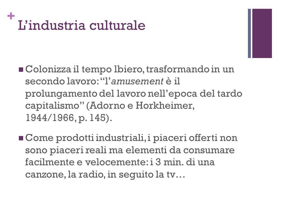 + Lindustria culturale Colonizza il tempo lbiero, trasformando in un secondo lavoro: lamusement è il prolungamento del lavoro nellepoca del tardo capi