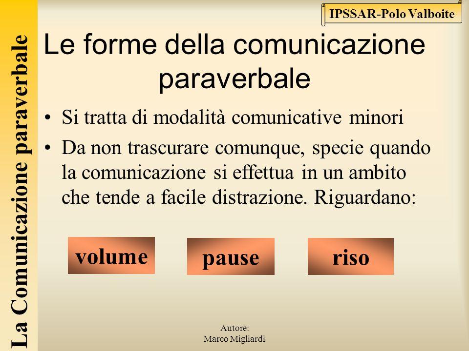La Comunicazione paraverbale IPSSAR-Polo Valboite Autore: Marco Migliardi La comunicazione paraverbale