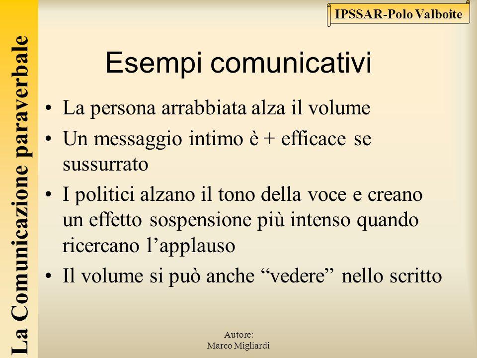 La Comunicazione paraverbale IPSSAR-Polo Valboite Autore: Marco Migliardi Volume e tono della voce 1° ovvietà: il volume va adattato alla distanza dei