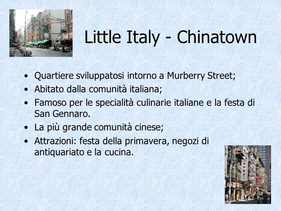 Little Italy - Chinatown Quartiere sviluppatosi intorno a Murberry Street; Abitato dalla comunità italiana; Famoso per le specialità culinarie italian