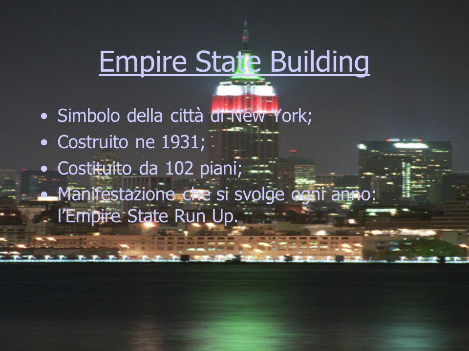 Empire State Building Simbolo della città di New York; Costruito ne 1931; Costituito da 102 piani; Manifestazione che si svolge ogni anno: lEmpire Sta