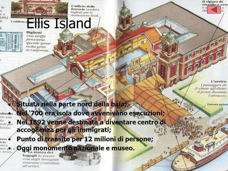 Ellis Island Situata nella parte nord della baia; Nel 700 era isola dove avvenivano esecuzioni; Nel 1892 venne destinata a diventare centro di accogli