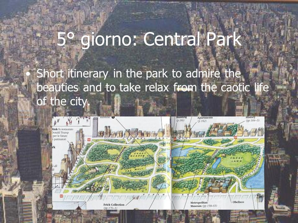 5° giorno: Central Park Short itinerary in the park to admire the beauties and to take relax from the caotic life of the city.