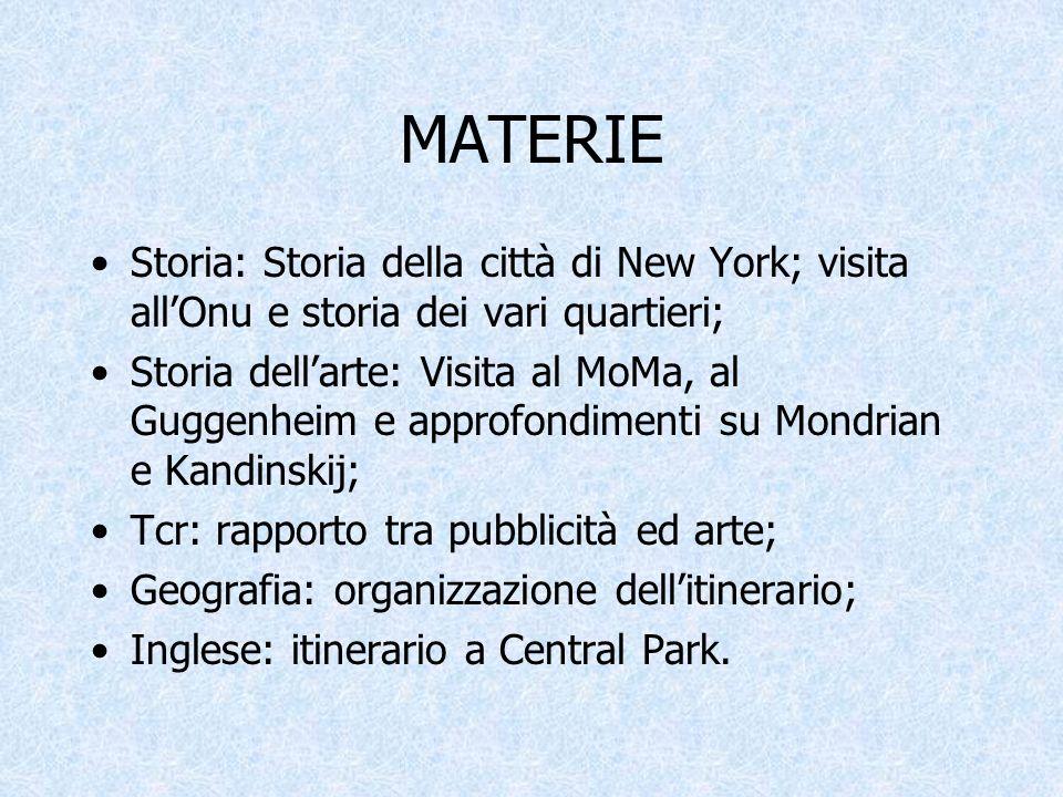 MATERIE Storia: Storia della città di New York; visita allOnu e storia dei vari quartieri; Storia dellarte: Visita al MoMa, al Guggenheim e approfondi