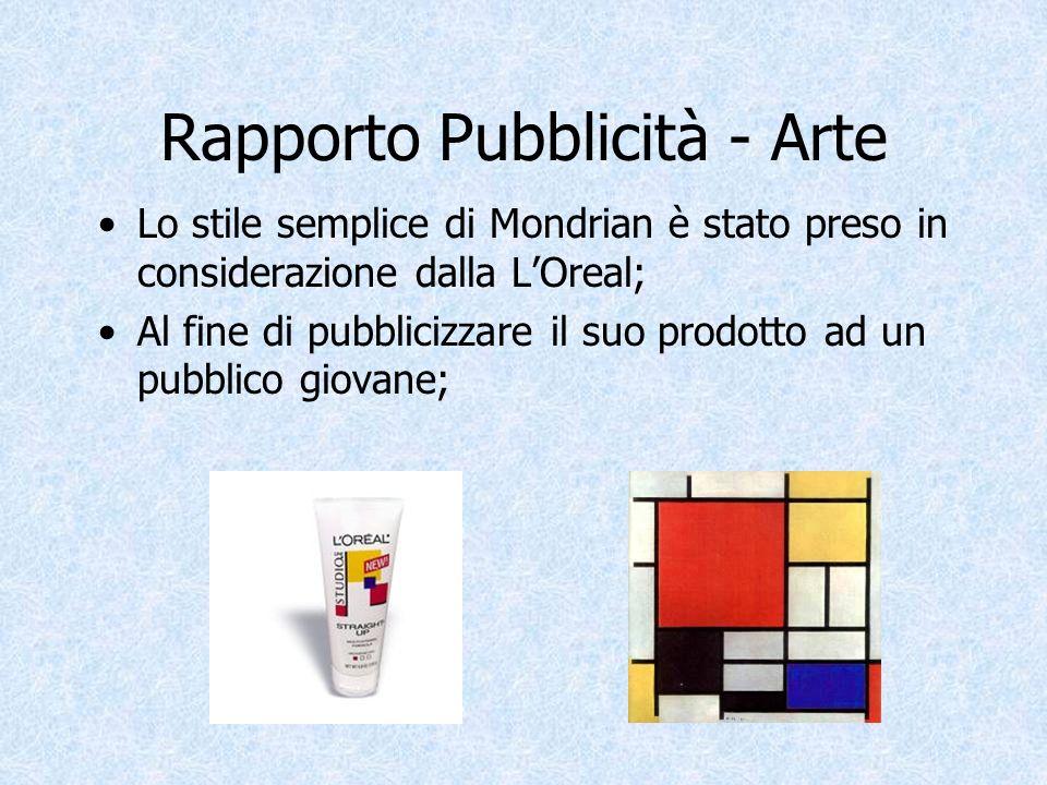 Rapporto Pubblicità - Arte Lo stile semplice di Mondrian è stato preso in considerazione dalla LOreal; Al fine di pubblicizzare il suo prodotto ad un