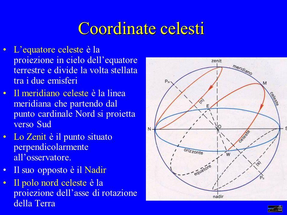 Coordinate celesti Lequatore celeste è la proiezione in cielo dellequatore terrestre e divide la volta stellata tra i due emisferi Il meridiano celest