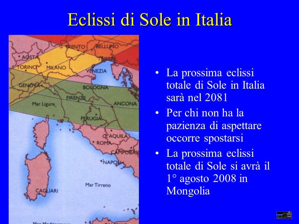 Eclissi di Sole in Italia La prossima eclissi totale di Sole in Italia sarà nel 2081 Per chi non ha la pazienza di aspettare occorre spostarsi La pros