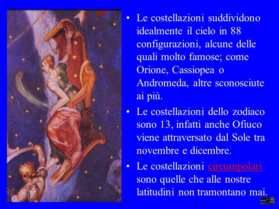 Le costellazioni suddividono idealmente il cielo in 88 configurazioni, alcune delle quali molto famose; come Orione, Cassiopea o Andromeda, altre scon