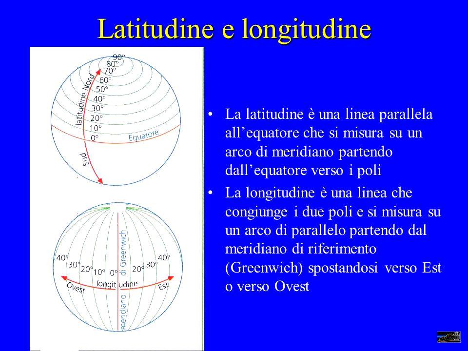 Latitudine e longitudine La latitudine è una linea parallela allequatore che si misura su un arco di meridiano partendo dallequatore verso i poli La l