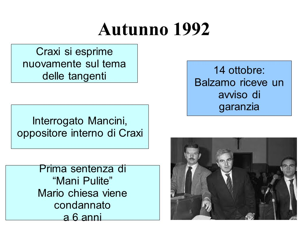 Autunno 1992 Craxi si esprime nuovamente sul tema delle tangenti 14 ottobre: Balzamo riceve un avviso di garanzia Interrogato Mancini, oppositore inte