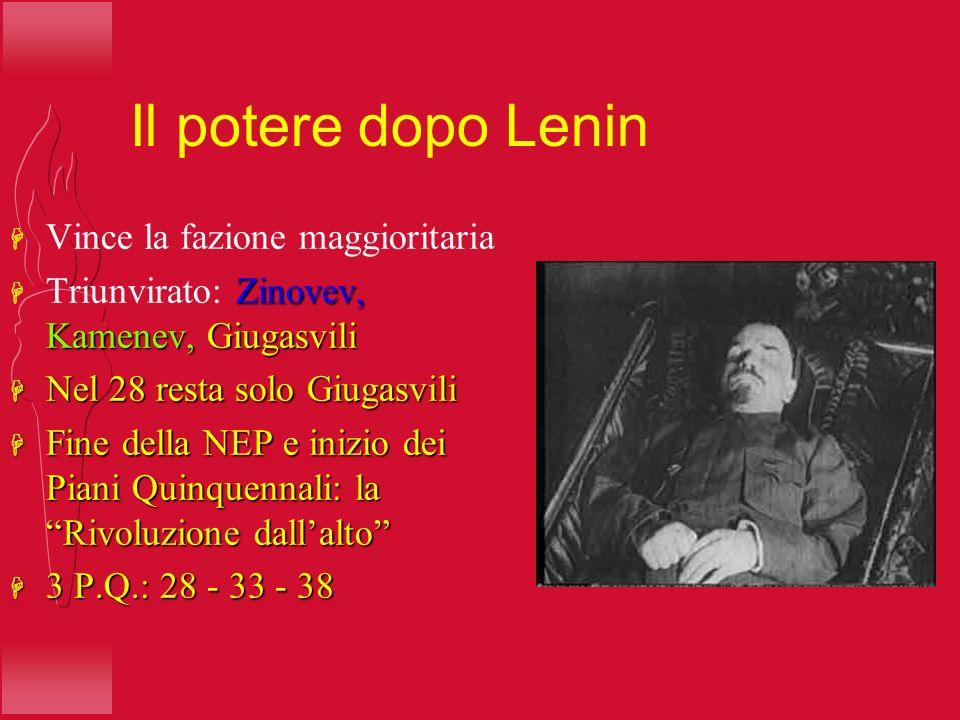 Il potere dopo Lenin H Vince la fazione maggioritaria Zinovev, Kamenev, Giugasvili H Triunvirato: Zinovev, Kamenev, Giugasvili H Nel 28 resta solo Giu