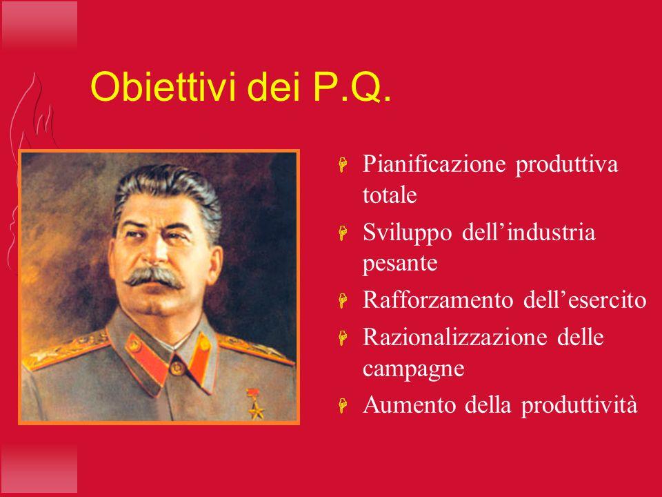 Obiettivi dei P.Q. H Pianificazione produttiva totale H Sviluppo dellindustria pesante H Rafforzamento dellesercito H Razionalizzazione delle campagne