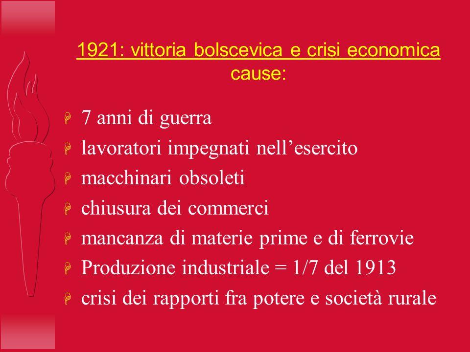 1921: vittoria bolscevica e crisi economica cause: H 7 anni di guerra H lavoratori impegnati nellesercito H macchinari obsoleti H chiusura dei commerc