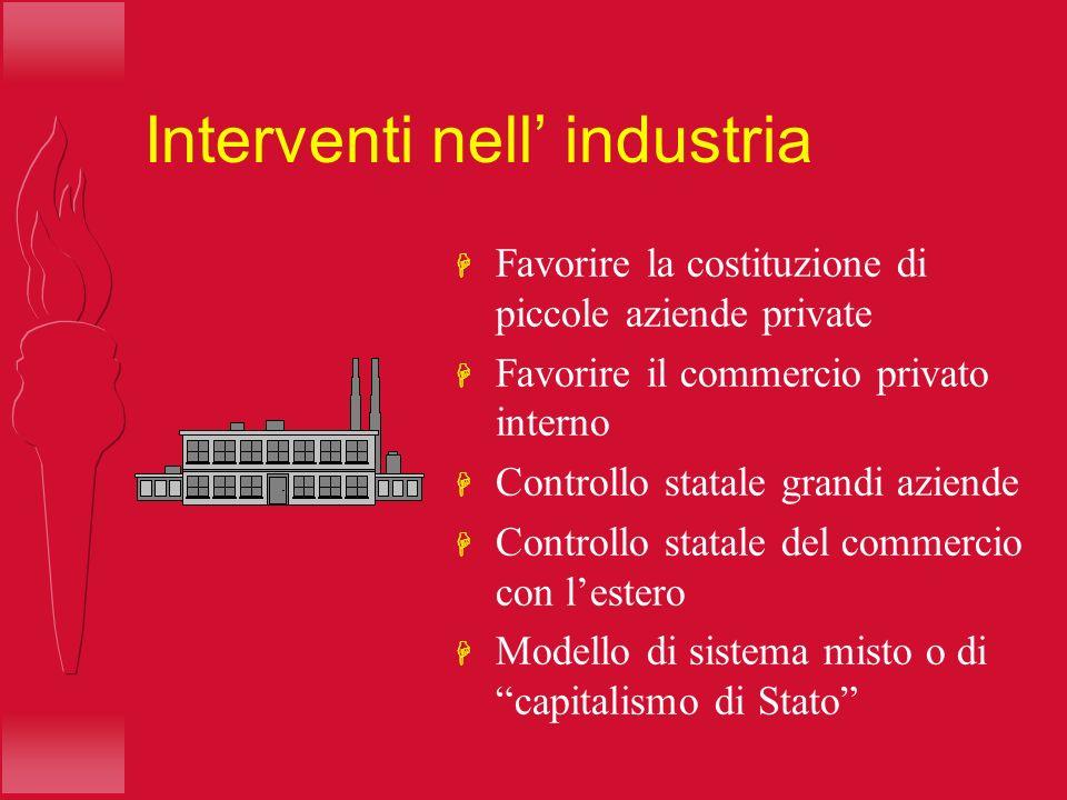 Interventi nell industria H Favorire la costituzione di piccole aziende private H Favorire il commercio privato interno H Controllo statale grandi azi