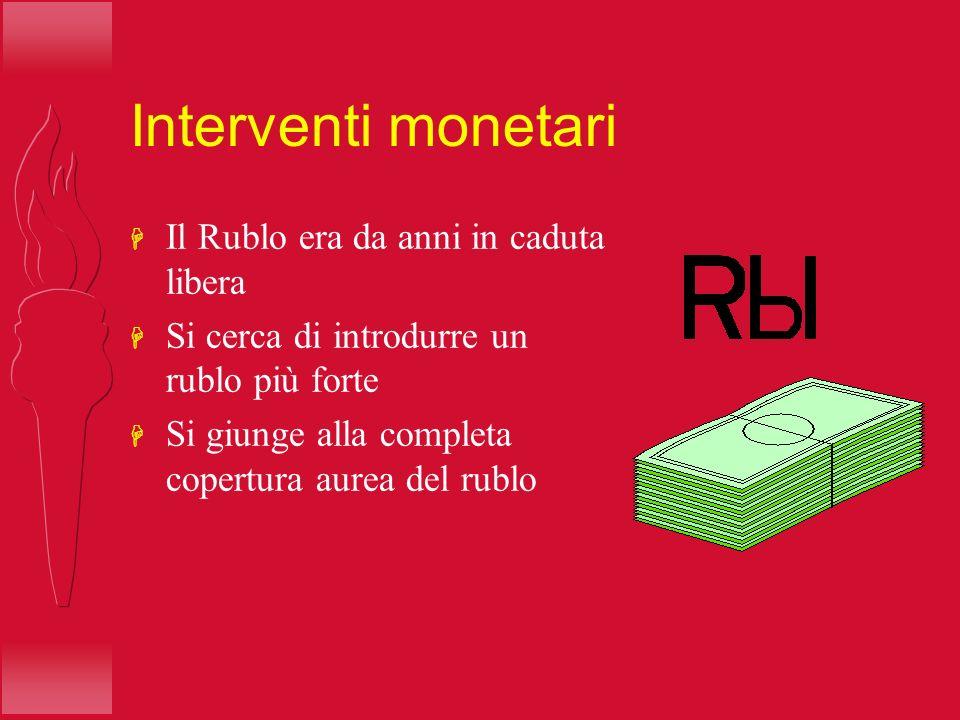Interventi monetari H Il Rublo era da anni in caduta libera H Si cerca di introdurre un rublo più forte H Si giunge alla completa copertura aurea del