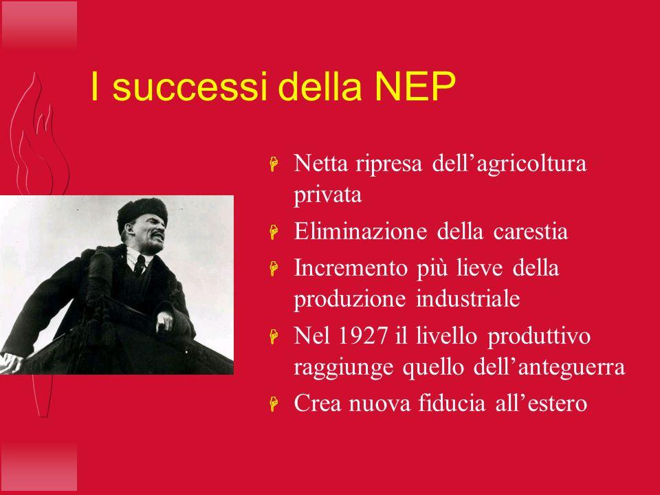I successi della NEP H Netta ripresa dellagricoltura privata H Eliminazione della carestia H Incremento più lieve della produzione industriale H Nel 1