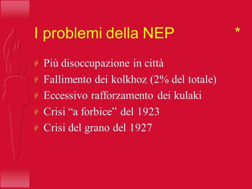 I problemi della NEP * H Più disoccupazione in città H Fallimento dei kolkhoz (2% del totale) H Eccessivo rafforzamento dei kulaki H Crisi a forbice d