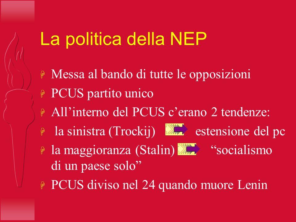 La politica della NEP H Messa al bando di tutte le opposizioni H PCUS partito unico H Allinterno del PCUS cerano 2 tendenze: H la sinistra (Trockij) e