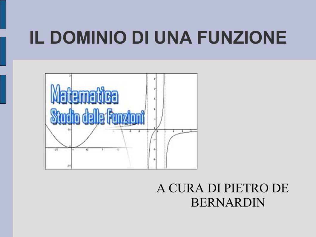 IL DOMINIO DI UNA FUNZIONE A CURA DI PIETRO DE BERNARDIN