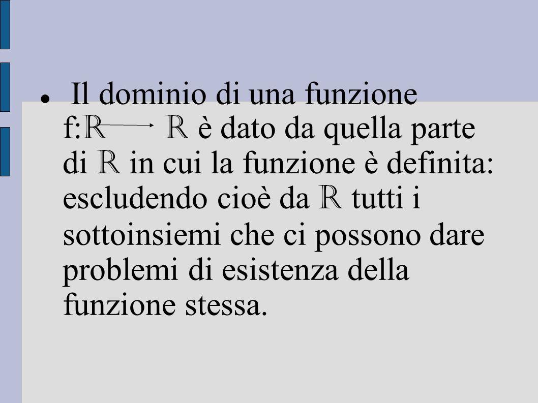Il dominio di una funzione f: R R è dato da quella parte di R in cui la funzione è definita: escludendo cioè da R tutti i sottoinsiemi che ci possono