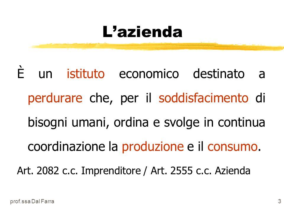 prof.ssa Dal Farra3 Lazienda È un istituto economico destinato a perdurare che, per il soddisfacimento di bisogni umani, ordina e svolge in continua coordinazione la produzione e il consumo.