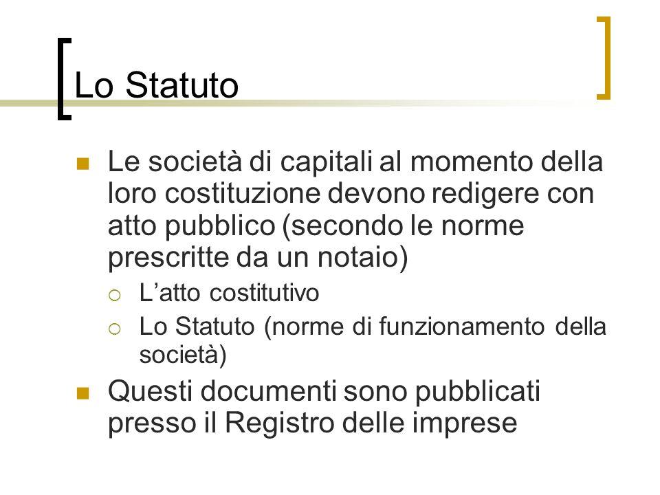 Lo Statuto Le società di capitali al momento della loro costituzione devono redigere con atto pubblico (secondo le norme prescritte da un notaio) Latt