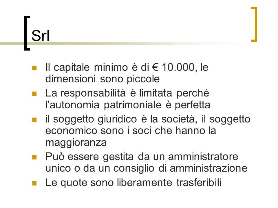 Srl Il capitale minimo è di 10.000, le dimensioni sono piccole La responsabilità è limitata perché lautonomia patrimoniale è perfetta il soggetto giur
