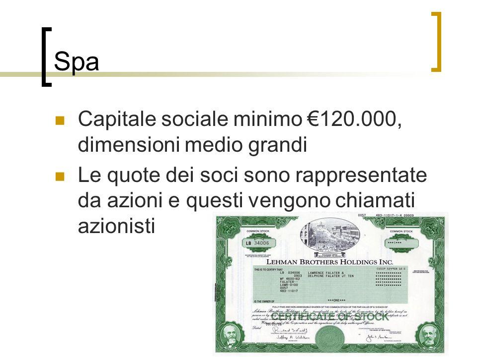 Spa Capitale sociale minimo 120.000, dimensioni medio grandi Le quote dei soci sono rappresentate da azioni e questi vengono chiamati azionisti