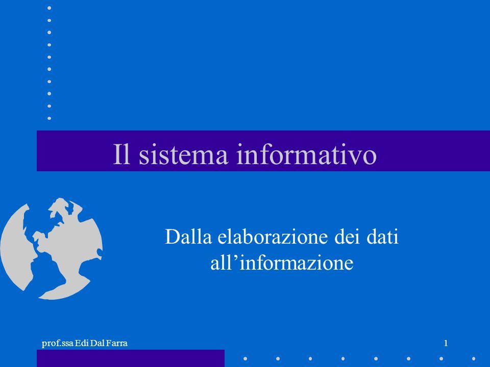 prof.ssa Edi Dal Farra1 Il sistema informativo Dalla elaborazione dei dati allinformazione