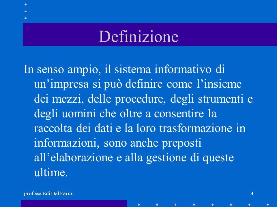 prof.ssa Edi Dal Farra4 Definizione In senso ampio, il sistema informativo di unimpresa si può definire come linsieme dei mezzi, delle procedure, degl