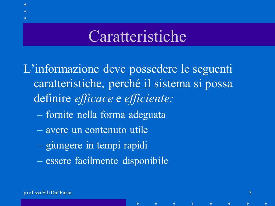 prof.ssa Edi Dal Farra5 Caratteristiche Linformazione deve possedere le seguenti caratteristiche, perché il sistema si possa definire efficace e effic