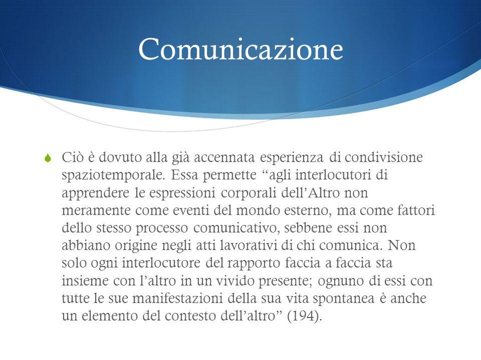Comunicazione Ciò è dovuto alla già accennata esperienza di condivisione spaziotemporale. Essa permette agli interlocutori di apprendere le espression