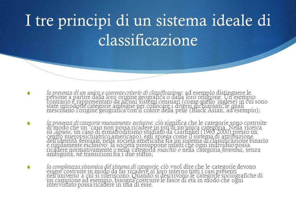 I tre principi di un sistema ideale di classificazione la presenza di un unico e coerente criterio di classificazione : ad esempio distinguere le pers