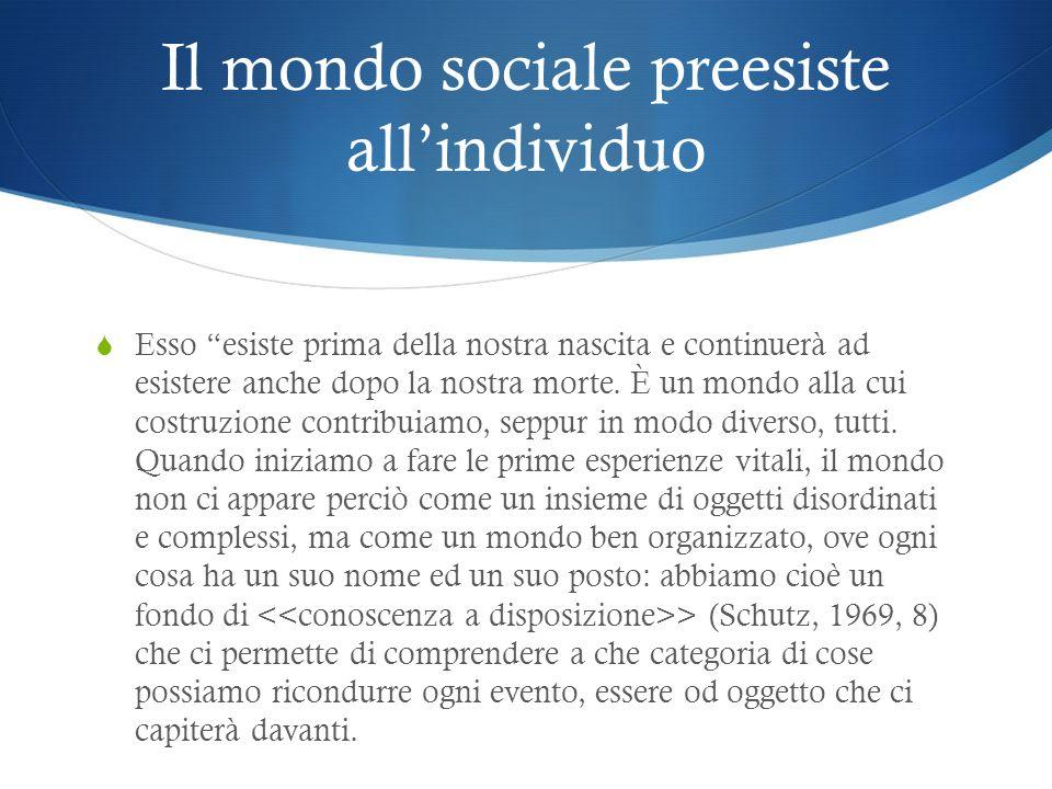 Il mondo sociale preesiste allindividuo Esso esiste prima della nostra nascita e continuerà ad esistere anche dopo la nostra morte. È un mondo alla cu