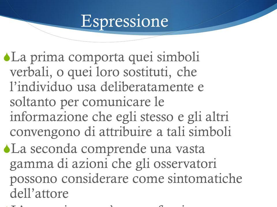 Espressione La prima comporta quei simboli verbali, o quei loro sostituti, che lindividuo usa deliberatamente e soltanto per comunicare le informazion