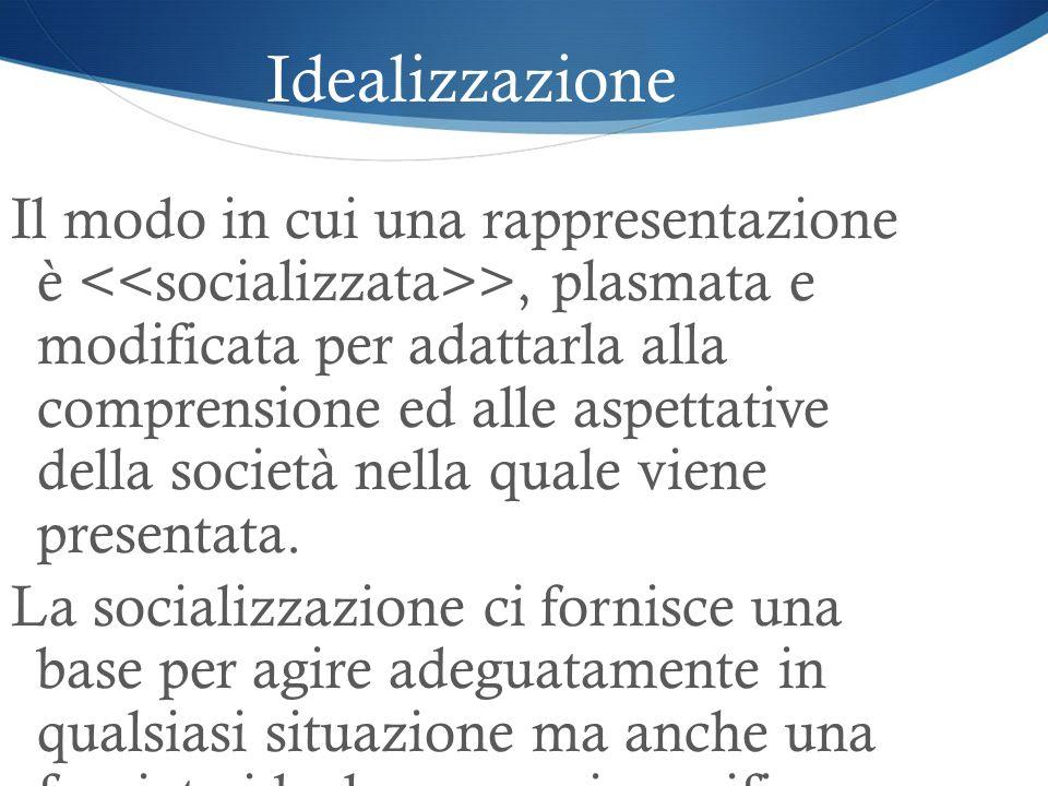 Idealizzazione Il modo in cui una rappresentazione è >, plasmata e modificata per adattarla alla comprensione ed alle aspettative della società nella