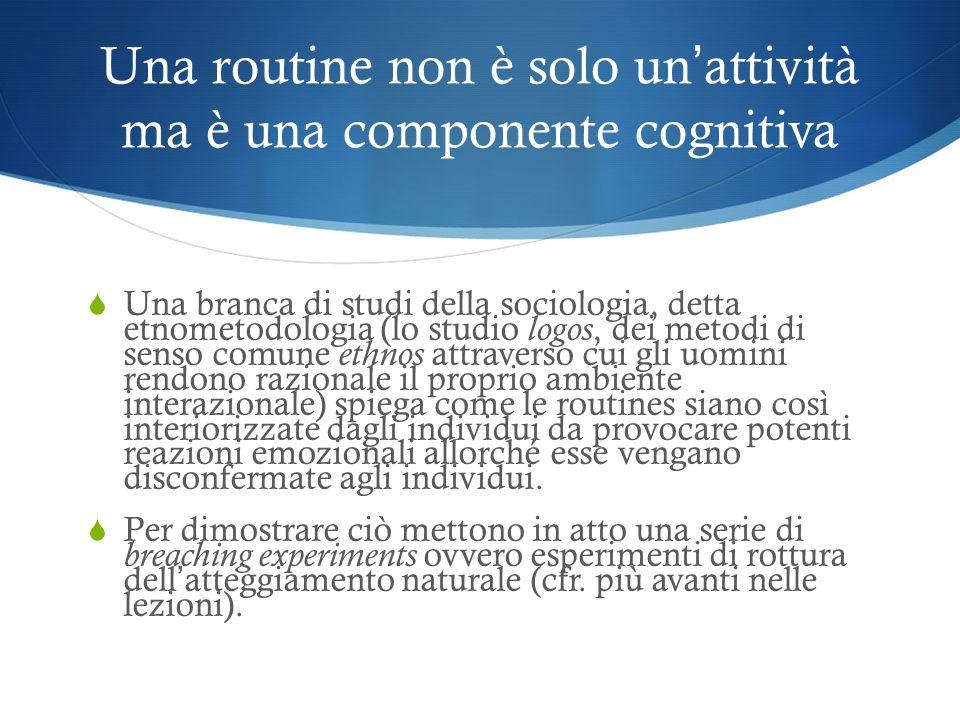 Una routine non è solo un attività ma è una componente cognitiva Una branca di studi della sociologia, detta etnometodologia (lo studio logos, dei met