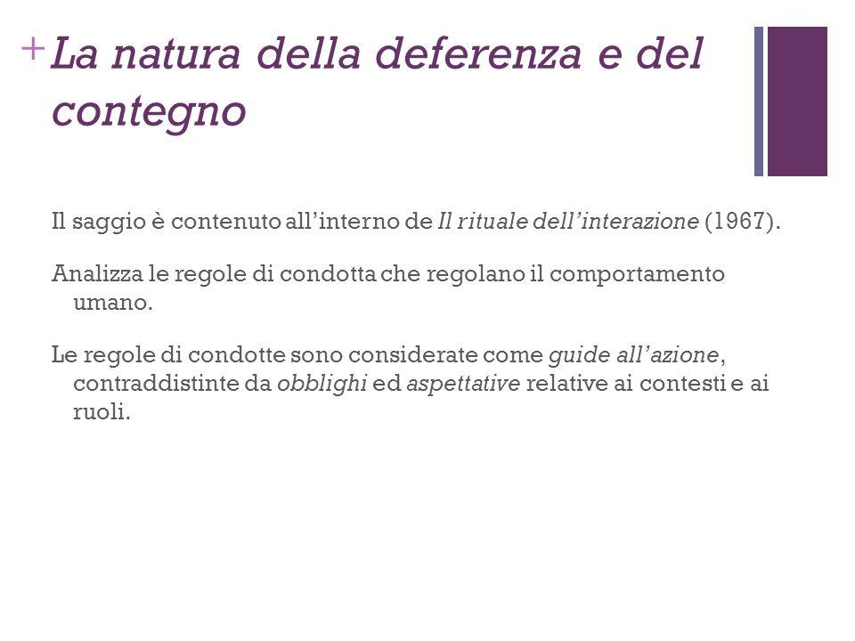 + La natura della deferenza e del contegno Il saggio è contenuto allinterno de Il rituale dellinterazione (1967). Analizza le regole di condotta che r